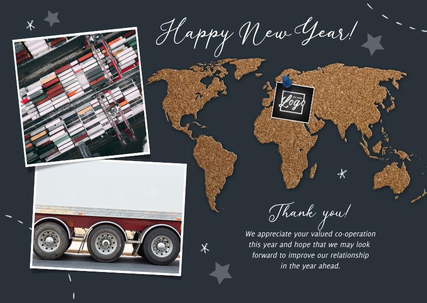 Nieuwjaarskaarten - Zakelijke nieuwjaarskaart internationaal kurk wereldkaart
