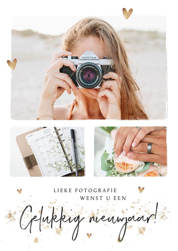 Nieuwjaarskaarten - Zakelijke nieuwjaarskaart met foto's en goudlook hartjes
