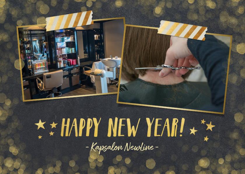 Nieuwjaarskaarten - Zakelijke nieuwjaarskaart zwart met goudlook confetti