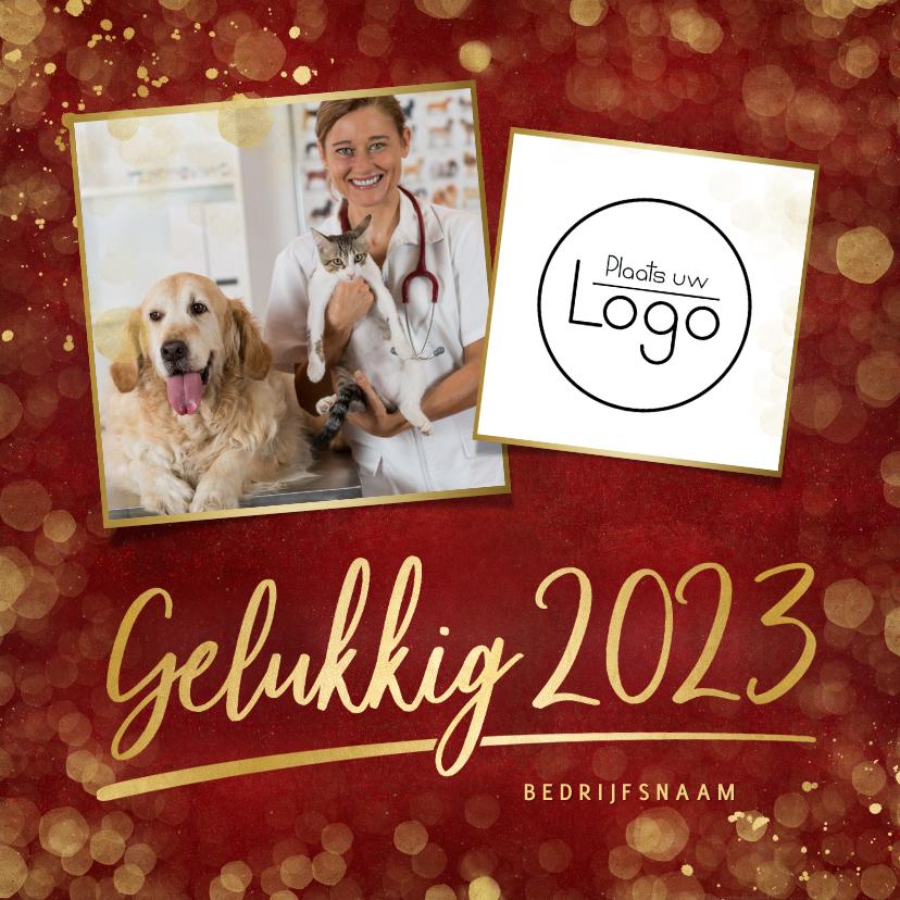 Nieuwjaarskaarten - Zakelijke rode nieuwjaarskaart met eigen foto en logo