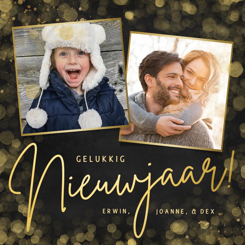 Nieuwjaarskaarten - Zwarte nieuwjaarskaart met 2 eigen foto's en goudlook tekst