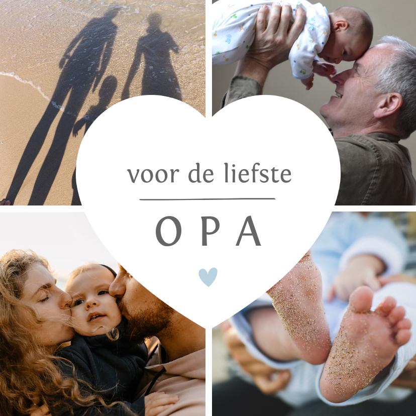 Opa en Oma kaarten - Fotocollage met hartje voor de liefste opa of oma