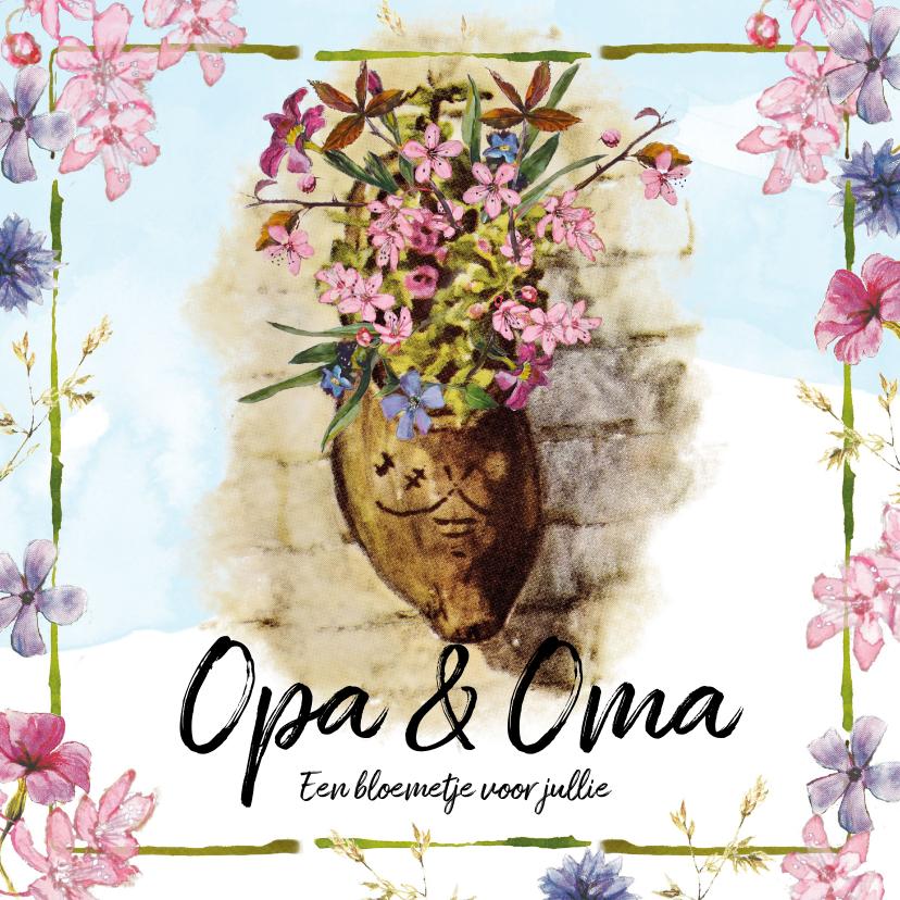 Opa en Oma kaarten - Kaart bloemen in klomp voor opa en oma