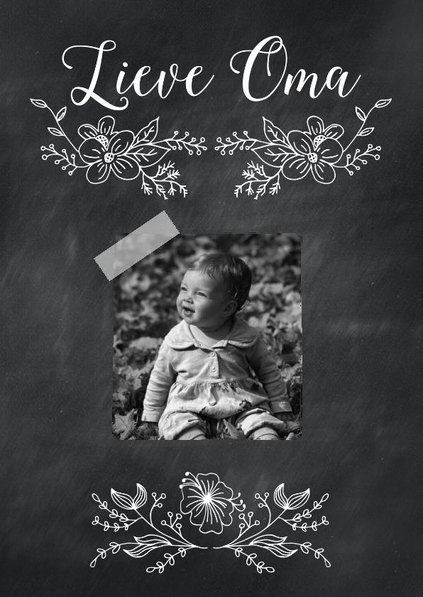 Opa en Oma kaarten - Lieve oma krijtbord bloem-isf