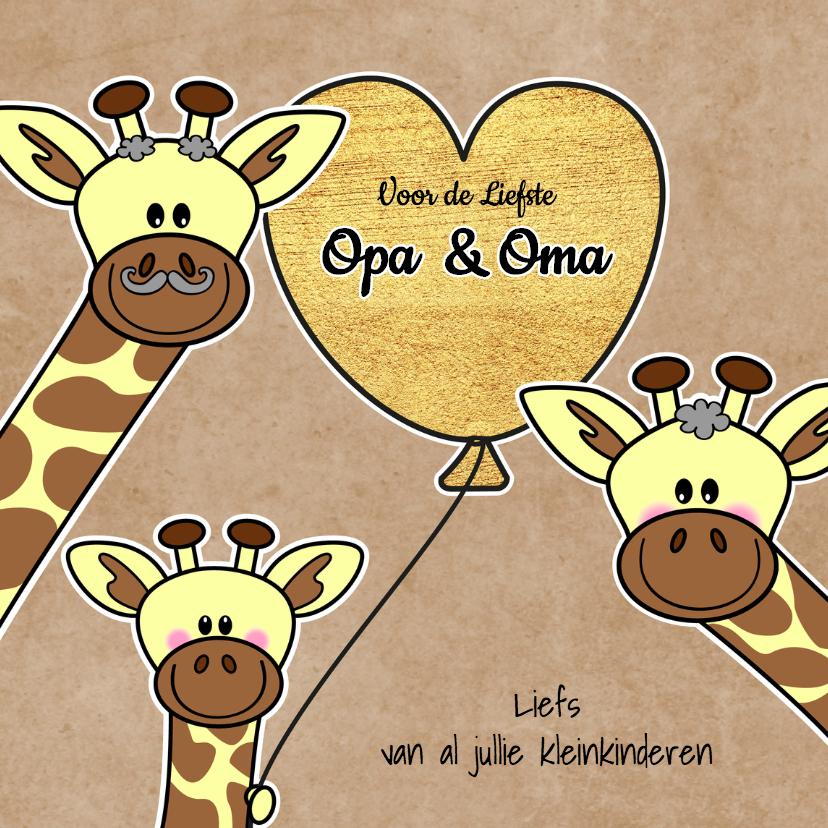 Opa en Oma kaarten - Lieve Opa en Oma giraffe hart