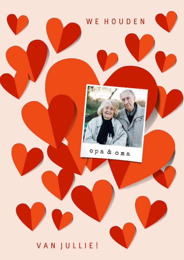 Opa en Oma kaarten - Oma en opa kaart met rode hartjes en foto