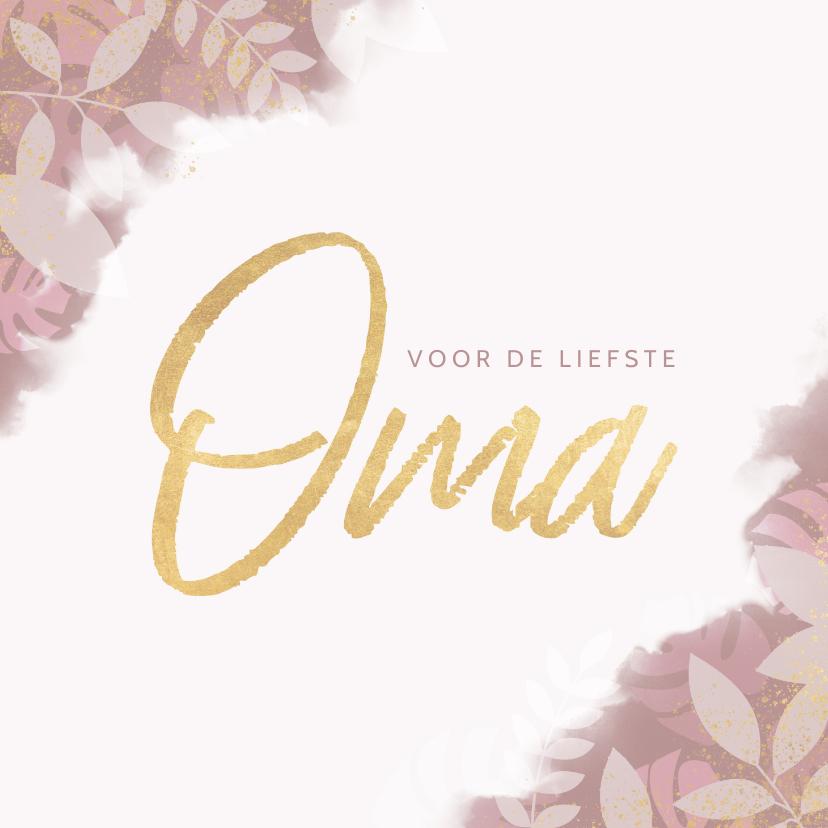 Opa en Oma kaarten - Oma kaartje roze waterverf, plantjes en gouden spetters