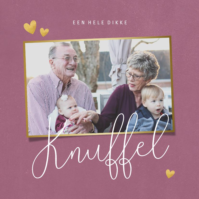 Opa en Oma kaarten - Opa en oma kaart dikke knuffel met foto en hartjes