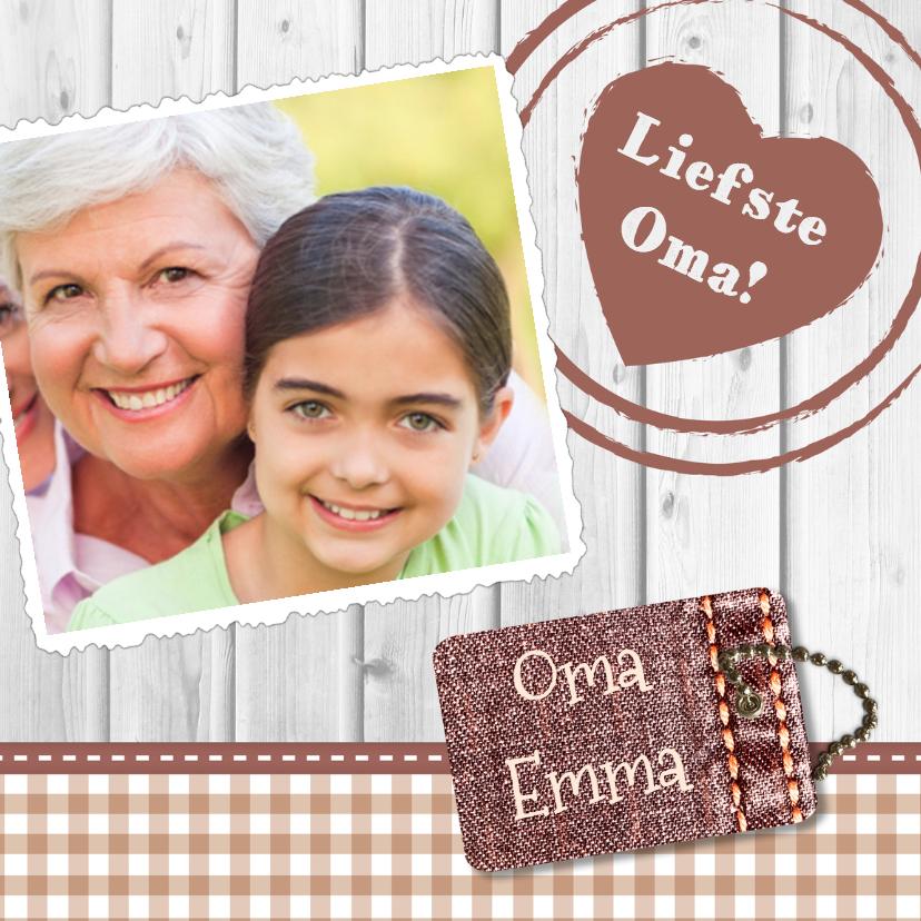 Opa & Omadag kaarten - Hout met label oma - BK