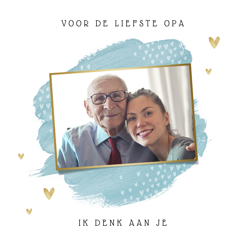 Opa en Oma kaarten - Opa en of oma kaart stijlvol hartjes foto goud waterverf