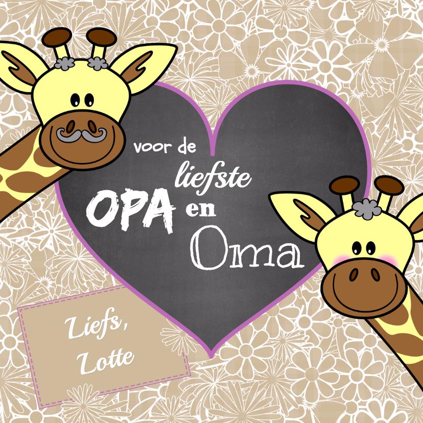Opa en Oma kaarten - Opa en Oma giraffe bloemen