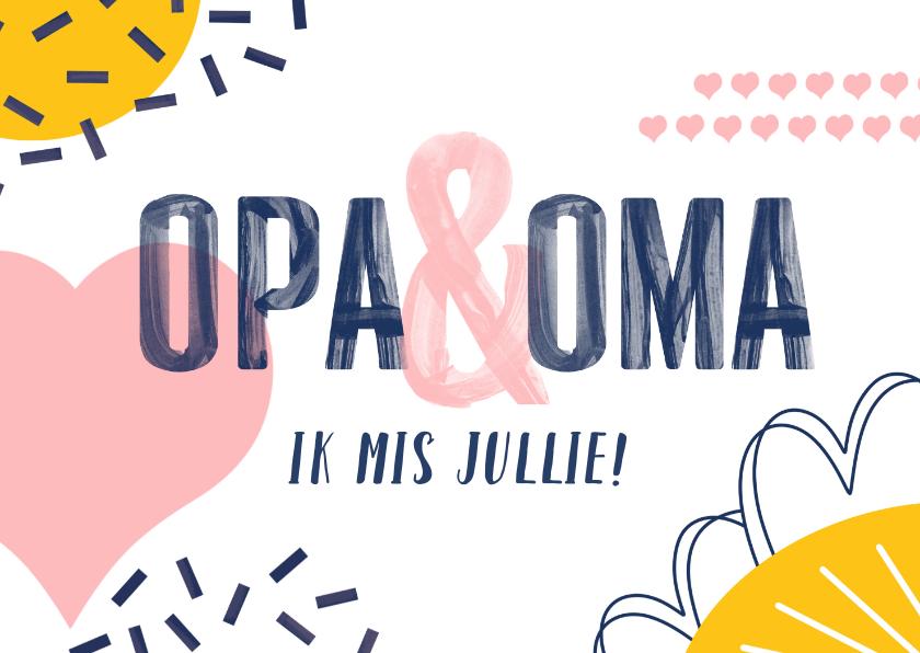 Wonderlijk Opa en oma kaart met vrolijke vormen | Kaartje2go ZO-75