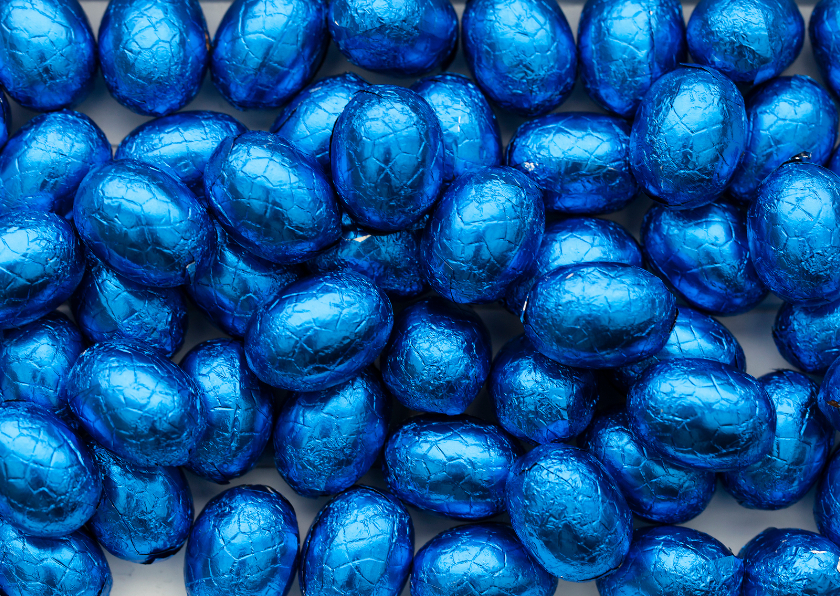 Paaskaarten - blauwe paaseitjes