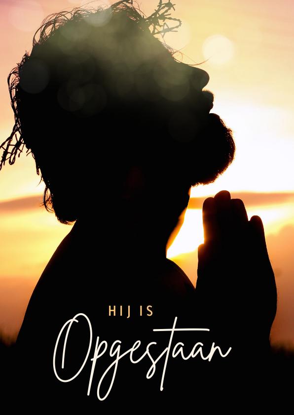 Paaskaarten - Christelijke paaskaart met Jezus - Hij is opgestaan