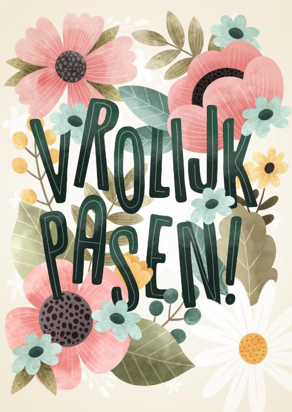 Paaskaarten - Fleurige paaskaart bloemen, bladeren, takjes Vrolijk Pasen!