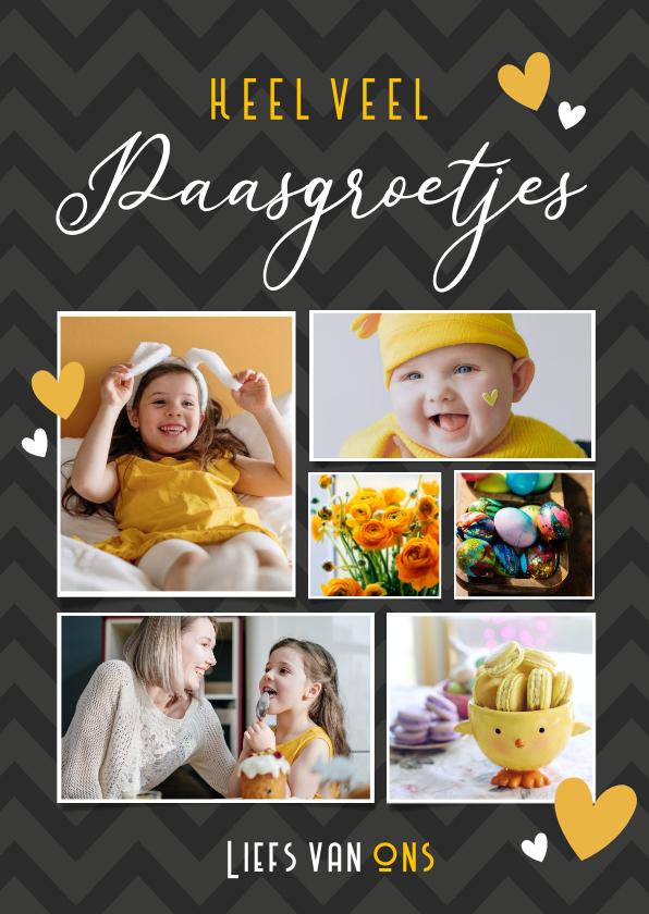 Paaskaarten - Fotocollage paaskaart - paasgroetjes met 6 eigen foto's