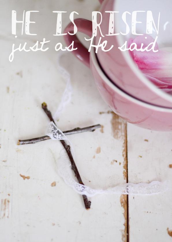 """Paaskaarten - Fotokaart """"He is risen"""""""