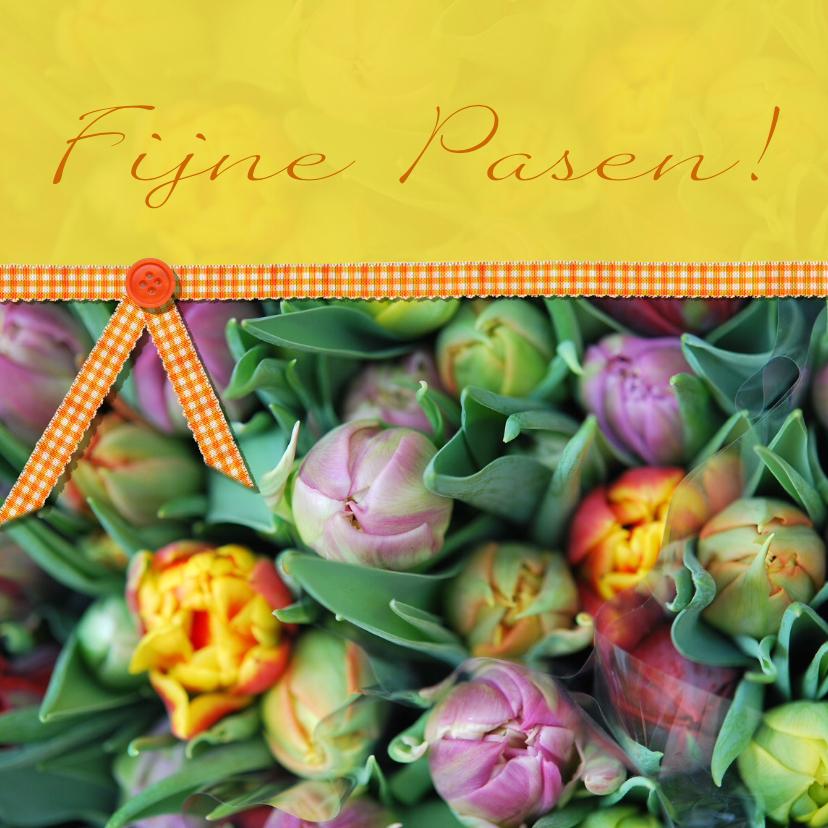 Paaskaarten - Geel met tulpen