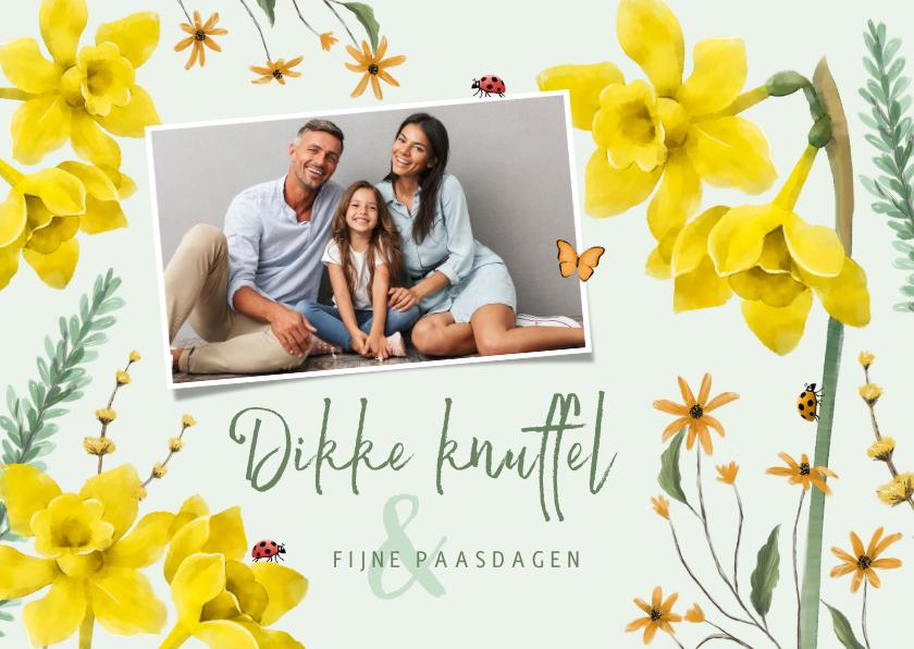 Paaskaarten - Lente bloemen paaskaart vlinders foto
