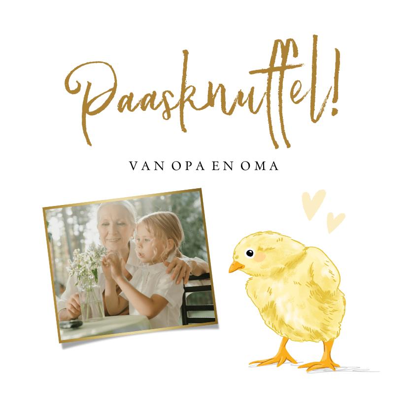 Paaskaarten - Leuke fotokaart met geïllustreerd kuiken en hartjes