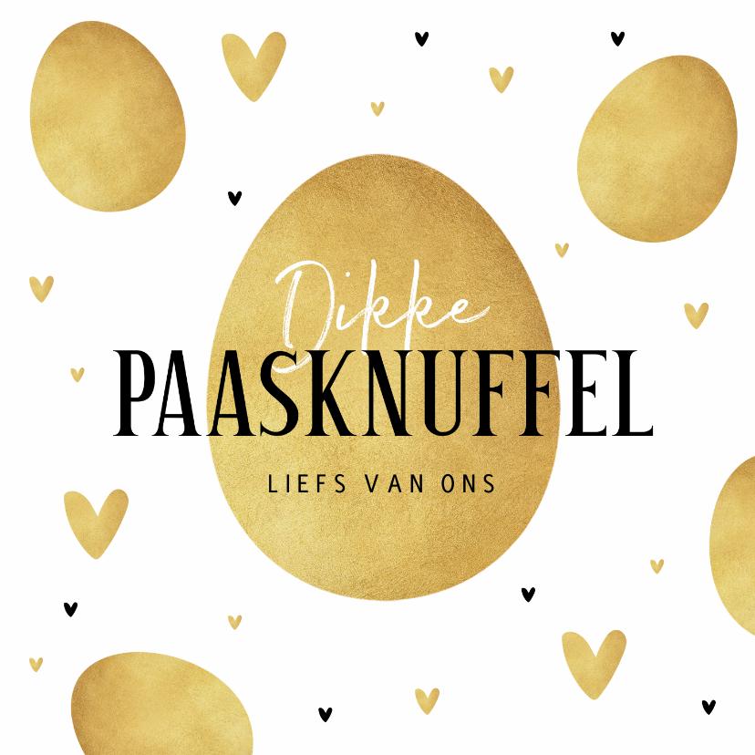 Paaskaarten - Paaskaart dikke paasknuffel goud eieren stijlvol hartjes