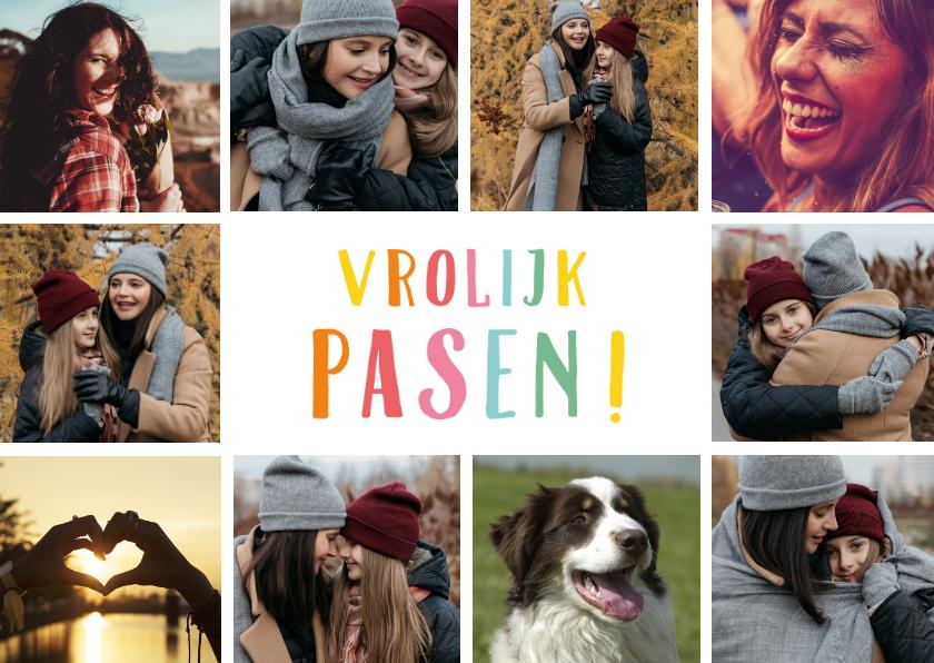 Paaskaarten - Paaskaart fotocollage met 10 foto's en vrolijk pasen
