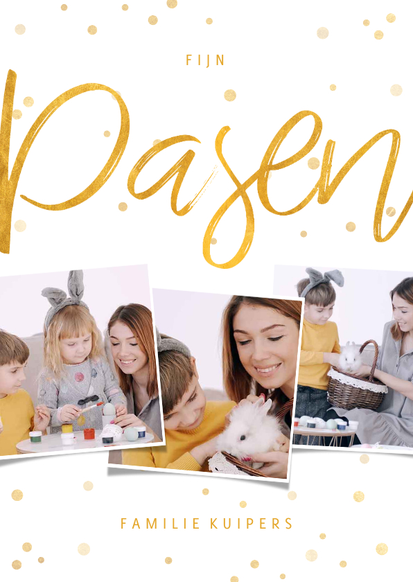 Paaskaarten - Paaskaart fotocollage met gouden confetti