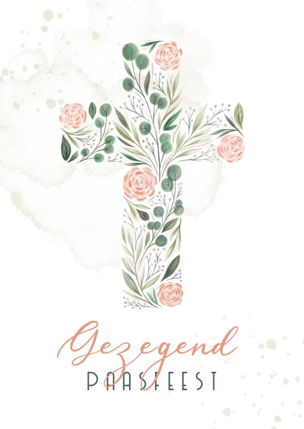 Paaskaarten - Paaskaart Gezegend paasfeest kruis van bloemen