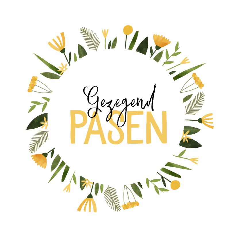 Paaskaarten - Paaskaart gezegend pasen gele bloemenkrans
