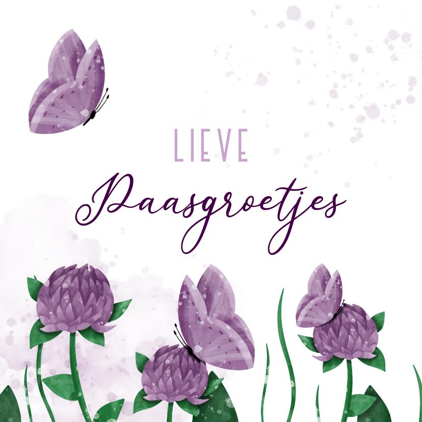 Paaskaarten - Paaskaart groetjes bloemen met vlinders