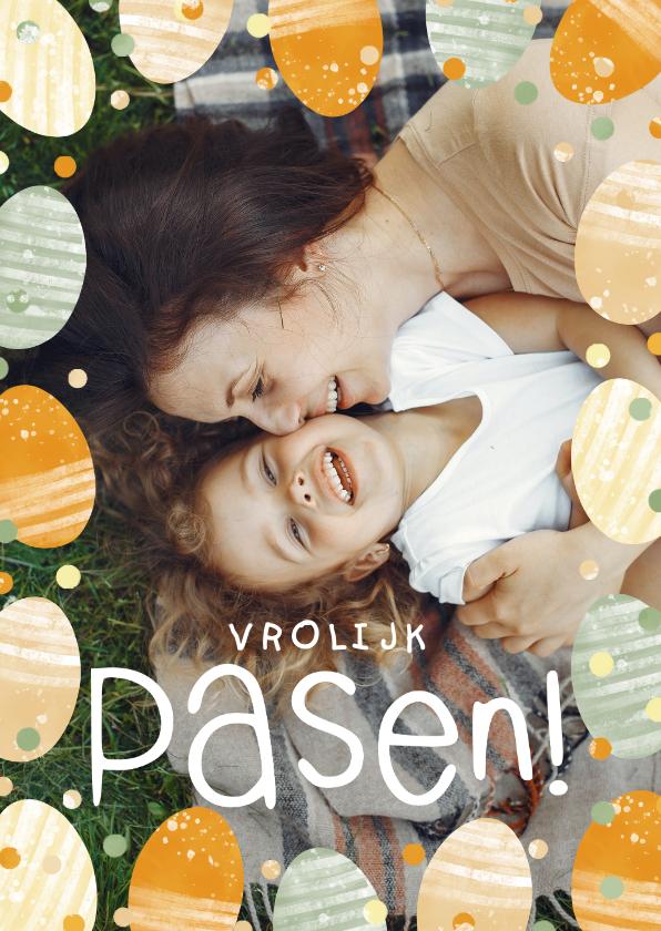 Paaskaarten - Paaskaart grote foto met paaseitjes