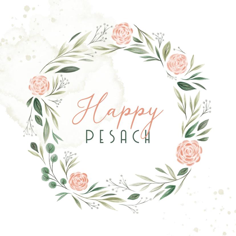 Paaskaarten - Paaskaart Happy Pesach met bloemenkrans