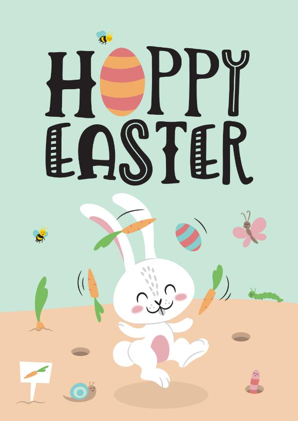 Paaskaarten - Paaskaart hoppy easter paashaas lente dieren vrolijk