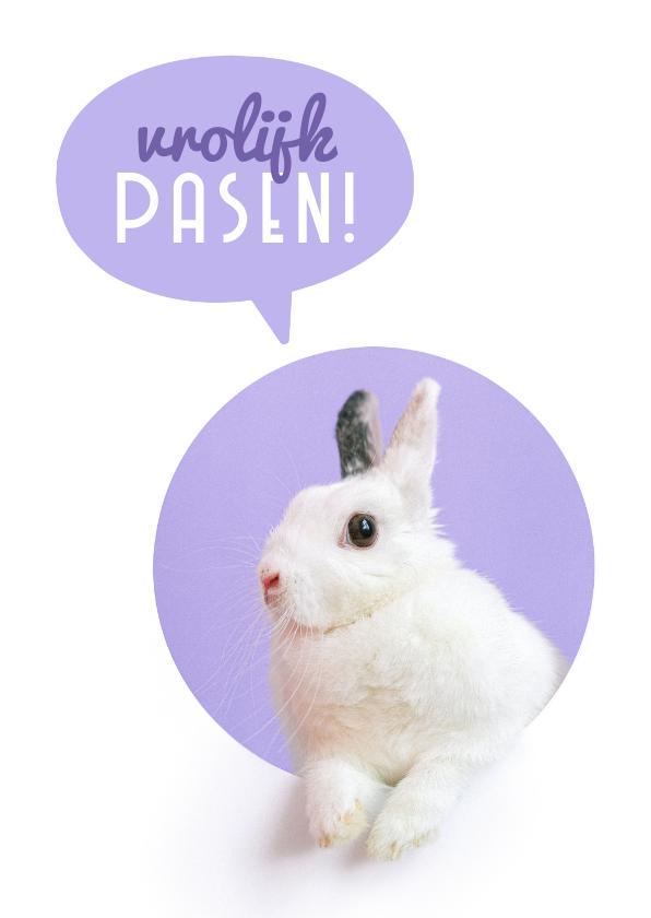 Paaskaarten - Paaskaart konijntje vrolijk pasen