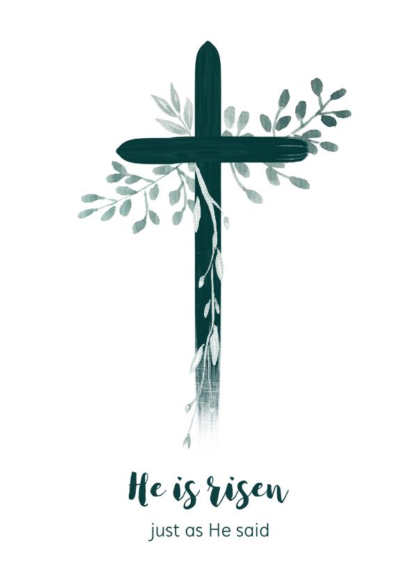 Paaskaarten - Paaskaart kruis met takjes, aanpasbare tekst