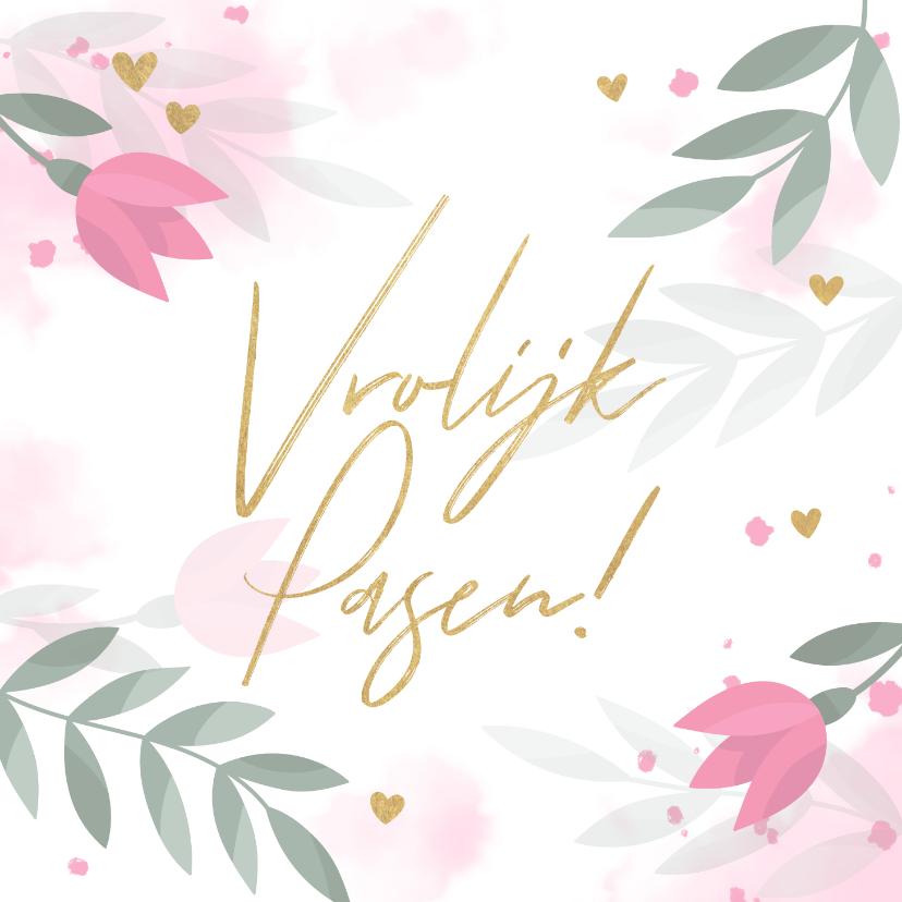 Paaskaarten - Paaskaart met bloemen, takjes, hartjes en waterverf