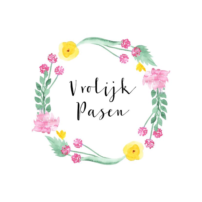 Paaskaarten - Paaskaart met cirkel van bloemen en blaadjes