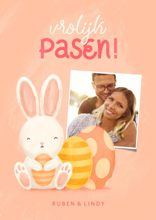 Paaskaarten - Paaskaart met foto, konijntje en paaseieren vrolijk pasen