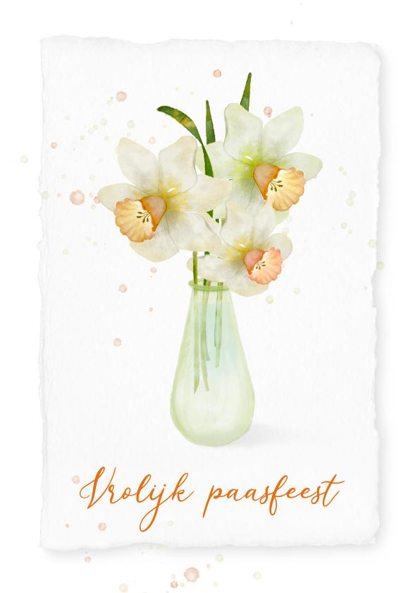 Paaskaarten - Paaskaart met narcissen in een groen vaasje