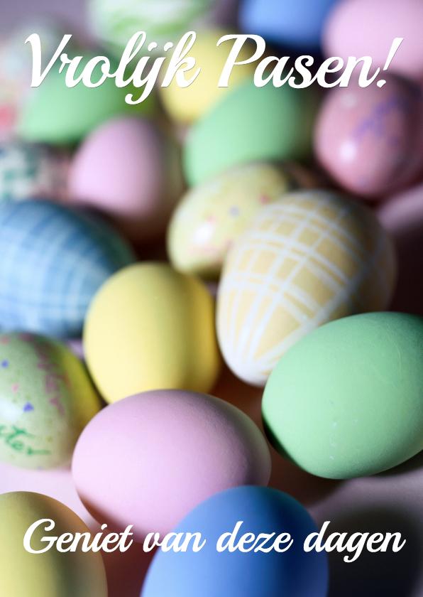 Paaskaarten - Paaskaart met pastelkeurige eieren vrolijk pasen!