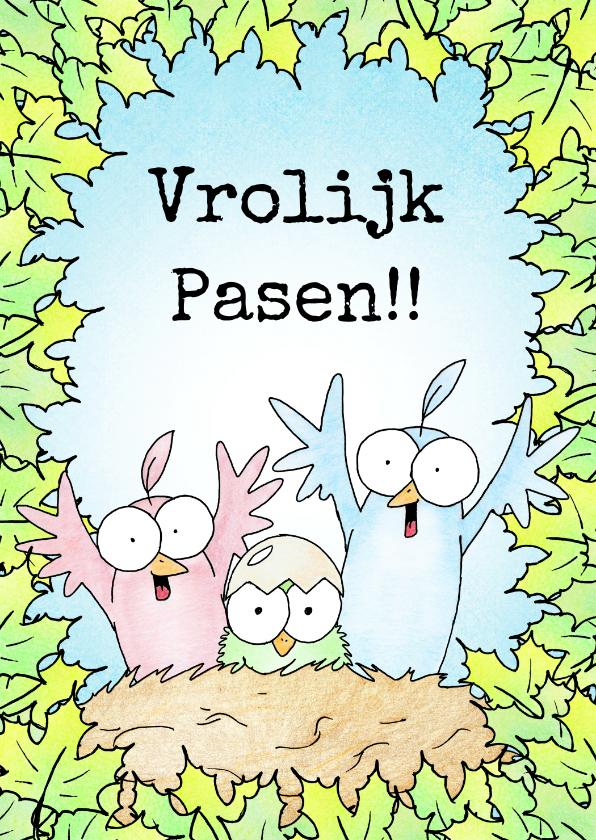 Paaskaarten - Paaskaart met twee vogels en kuikentje in een nest