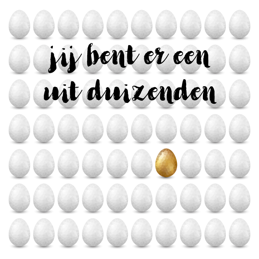 Paaskaarten - Paaskaart met verzameling witte eieren en 1 gouden ei
