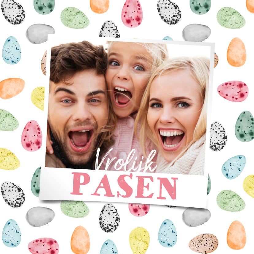 Paaskaarten - Paaskaart paaseitjes vrolijk foto vrolijk pasen