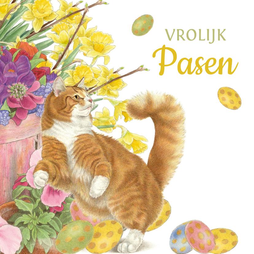 Paaskaarten - Paaskaart spelende rode kat met paaseitjes en bloemen