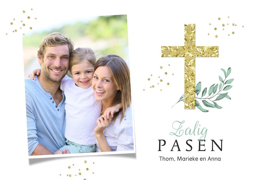 Paaskaarten - Paaskaart stijlvol christelijk zalig pasen kruis goud foto