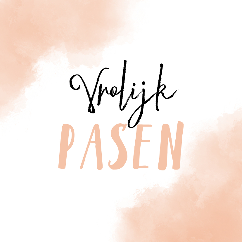 Paaskaarten - Paaskaart Vrolijk Pasen met zalm-roze achtergrond