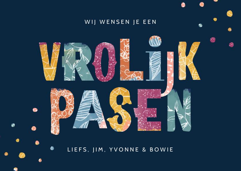 Paaskaarten - Paaskaart vrolijk typografisch kleurrijk