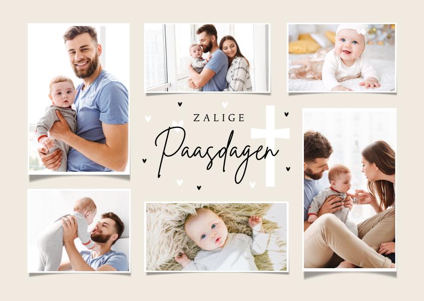 Paaskaarten - Paaskaart zalig pasen christelijk fotocollage hartjes