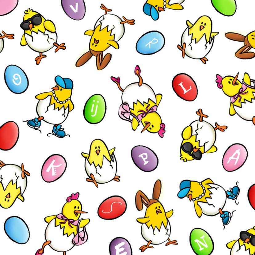 Paaskaarten - Pasen Vrolijke Kuikens met kleurplaat