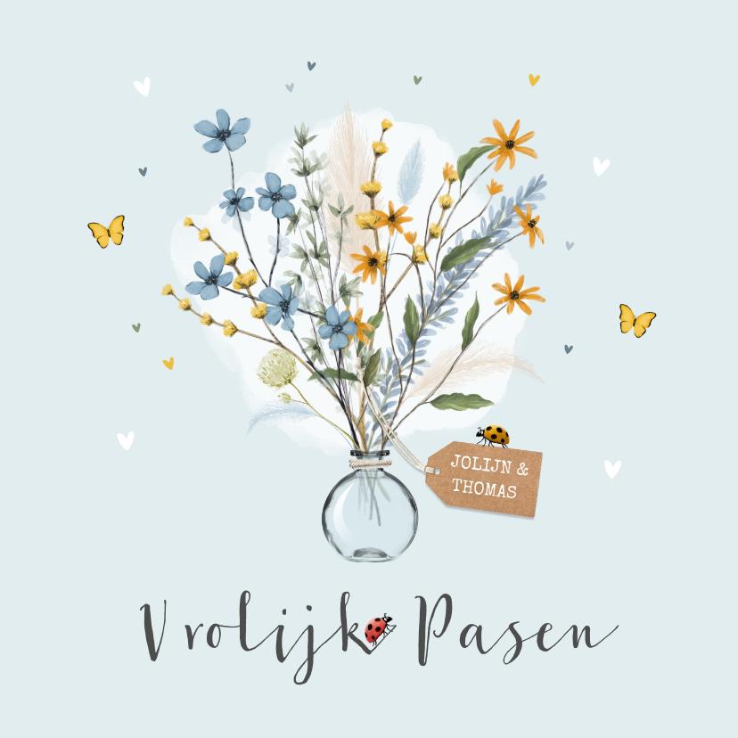 Paaskaarten - Vrolijk en stijlvol paaskaartje met bos bloemen en insecten